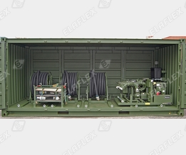 Container with refuelling equipment