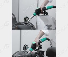 Motorcycle refuelling at the petrol station