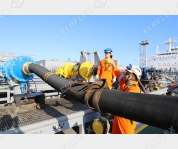 Cargo loading of a tanker with petroleum based products; FHD hose assembly